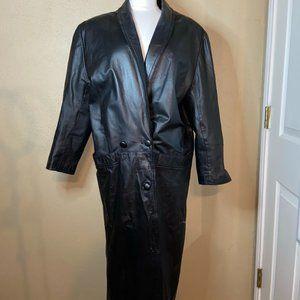 Bechamel Lined Leather Trench Coat Black Medium